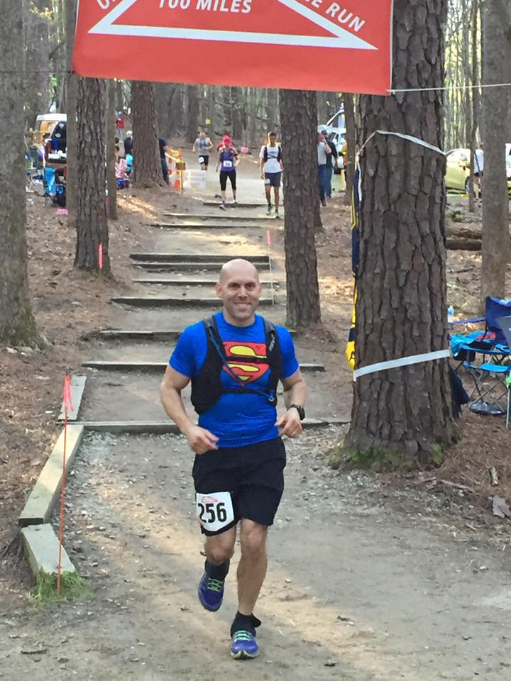 Our trainer, Chris, getting ready for a new lap in the 2016 Umstead 100 race.